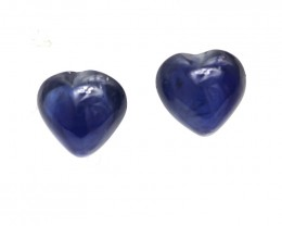 0.72cts  Matching Pair Natural Blue Sapphires Heart Cabochons 2pcs