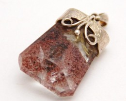 PHANOTOM or LODOLITE QUARTZ sterling silver gemstone pendant necklace 85cts