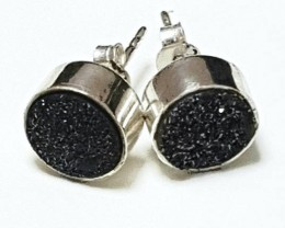 9mm black druzy sterling silver recycled stud earrings