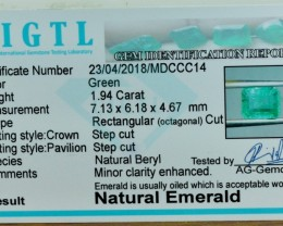 1.94 cts Certified Octangle Step Cut Natural Colombian Emerald Gemstone