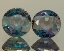 0.64 CT 4X4 MM BLUISH GREEN NATURAL  ALEXANDRITE PAIR