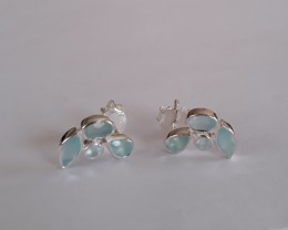 Chalcedony 925 Sterling silver earrings #33401