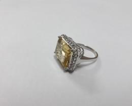 Citrine 925 Sterling silver ring #599