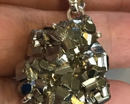 Peruvian Pyrite Crystal (Fool's Gold) pendant - .925 Sterling Silver