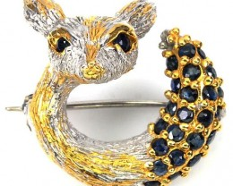 Baby Fawn Sapphire 14kt Gold over Sterling Silver Brooch