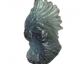 15.05cts Natural Australian Blue Parti Sapphire Cockatoo Head Carving