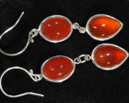 28ct 11x8mm Natural Carnelian cabs in silver setting