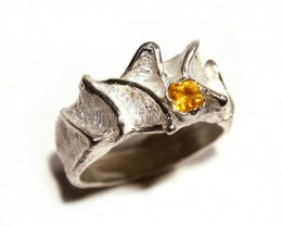 Silver Ring 925  Orange Sapphire Tot. Cts 32.5    CV11