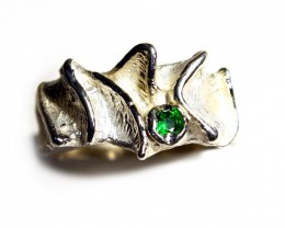 Silver Ring 925 Cts . 32.5  Tzavorite CV13