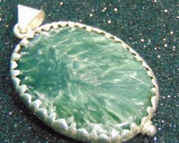 95.00CT  NATURAL SERPANITE GREEN PENDENT GOOD PURITY PURE SILVER
