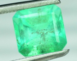 Certified 1.76 cts Super Quality Asscher Cut Untreated Colombian Emerald Ge