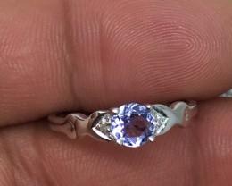(B3) Cert.  $1000 Nat 0.64ct Tanzanite & Diamond Ring 10K Sol Gol