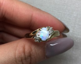 (B3) $1300 Top Quality Designer Nat 0.90ct Opal & Diamond Ring 10K YG