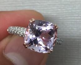 (B1) Cert. $1450 Nat 4.32cts. AAA Amethyst Sapphire Ring 10K RG