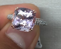 (B3) Cert. $1450 Nat 4.28cts. AAA Amethyst Sapphire Ring 10K RG