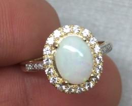 (B3) Cert $1350 Nat 2.08cts Opal Sapphire & Diamond Ring 10K YG 2.49g