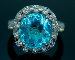GRS Certified 6.58 gm Cuprian Elbaite Paraiba Tourmaline Diamond Gold Ring