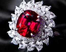 AAA Grade AIGS Certified 5.3 gm Unheated Ruby Diamond Gold Ring