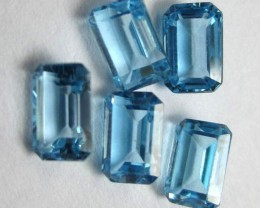 PARCEL OF 5 - 6.00x4.00MM VERY PRETTY SWISS BLUE TOPAZ BAGUETTE GEMSTONES!!
