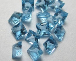 PARCEL OF15 - 3.00x3.00MM VERY PRETTY SWISS BLUE TOPAZ SQUARE GEMSTONES!!