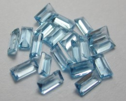 PARCEL OF 20 - 4.1x 2.1MM VERY PRETTY SWISS BLUE TOPAZ BAGUETTE GEMSTONES!!