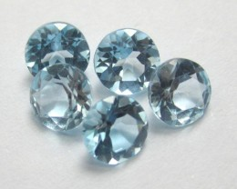 PARCEL OF 5 - 5.00MM VERY PRETTY BABY BLUE TOPAZ ROUND GEMSTONES!!