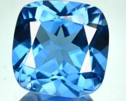 6.37 Cts Natural Blue Topaz 11 mm Cushion Brazil Gem