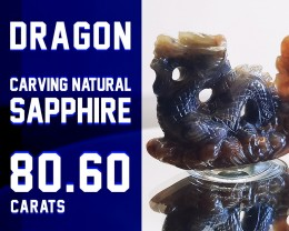 SAPPHIRE 80.60ct - SALE COLLECTION! - Dragon Carving Natural