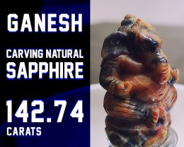 SAPPHIRE 142.74ct - SALE COLLECTION! - Ganesh Carving Natural