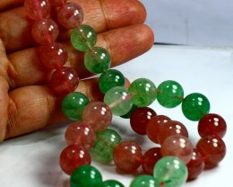 429 CT Natural Chlorine  &Cherry Quartz  Carved Beads Stone Special Sha