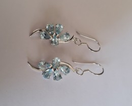 Blue topaz 925 Sterling silver earrings #33407
