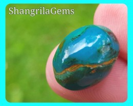 15.1mm 9.69ct Gem Silica Chrysocolla with malachite and cuprite cabochon