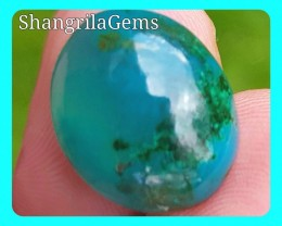 11.2ct 16.3mm Gem Silica Chrysocolla cabochon with malachite, cuprite and d