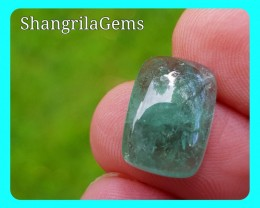 14mm Green blue Tourmaline cabochon cushion shape 7.2ct 14 by 10 by 5.2mm