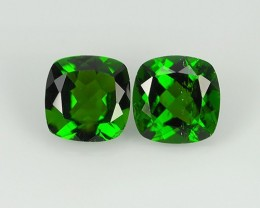 1.70  cts Eye Catching Natural Rich Green Chrome Diopside Cushion Pair