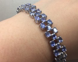 (B4) Mesmerizing Nat 116.5tcw. Tanzanite Bracelet
