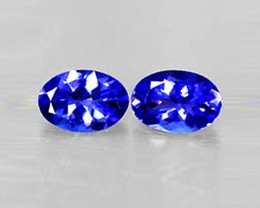 2.89 tcw Gorgeous Great Color IF Natural Tanzanite Oval Pair