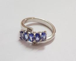 Tanzanite diamond 925 Sterling silver ring #681
