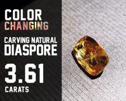 Top Quality! - 3.61ct - Diaspore Natural - Color Change