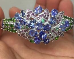 (B4) Nat 120.3tcw. Tanzanite  R. Garnet Emerald Chrome Diopside Bangle