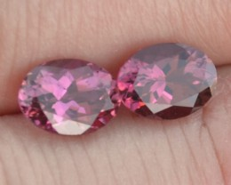 2.77 Carat Fantastic Near Matched Pair of Oval Cut Red Tourmaline