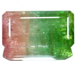 82.53 Cts Natural Bi Color Tourmaline Octagon Cut Mozambique Gem