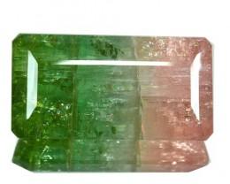 93.36 Cts Natural Bi Color Tourmaline Octagon Cut Mozambique Gem