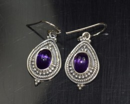 NATURAL AMETHYST SILVER EARRINGS 925 STERLING SILVER FREE SHIPPING