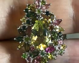 A Stunning Lemon Quartz Tourmaline Ring Size 9 Beautiful stones! NR