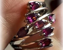 Fine Raspberry Rhodolite Garnet Ring Size 8 No Reserve