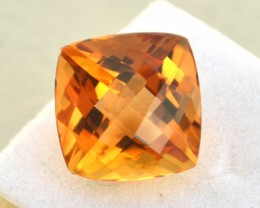 13.25 Carat Fantastic Cushion Checkerboard Cut Citrine