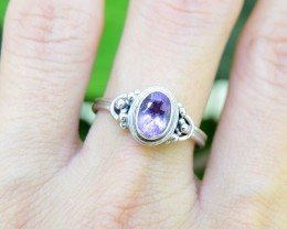 N/R Amethyst Natural  925 Sterling Silver Ring Size 7 (SSR0113)