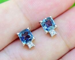N/R Topaz Natural  London Blue 925 Sterling Silver Earrings (SSE0369)