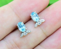 N/R Topaz Swiss Blue Natural  925 Sterling Silver Earrings (SSE0370)